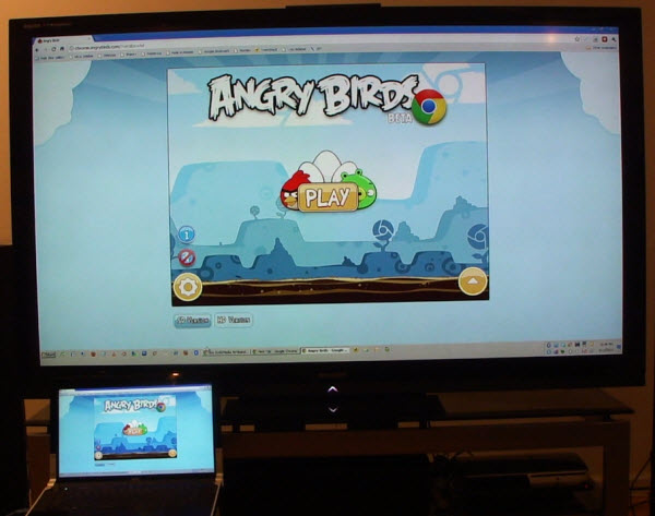 Angry Birds Chrome App Version Running on Sharp 70 inch LCD TV